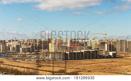 Construction of a new district on the outskirts of Sankt-Petersburg