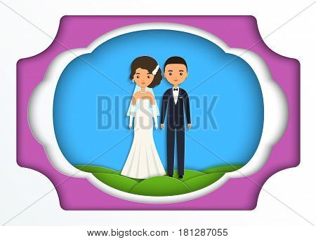 Bride and groom in paper art style. Vector flat people characters. Cartoon couple newlyweds on blue background. Origami design. Icons male female.