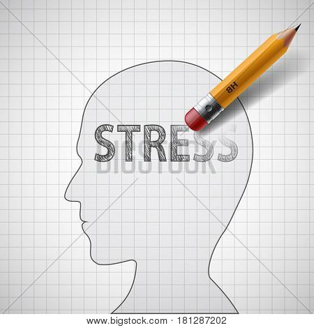 Human head with the word stress. Psychotherapist and antidepressants. Stock vector illustration.