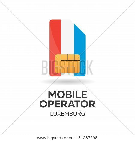 Luxemburg Mobile Operator. Sim Card With Flag. Vector Illustration.