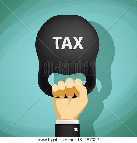 Man holds in a hand kettlebell with the word tax. Stock Vector cartoon illustration.
