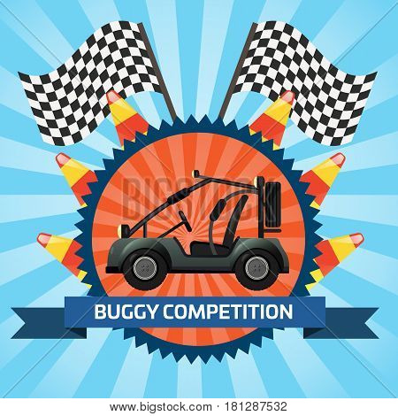 Buggy car competition banner with checkered flag vector illustration. Outdoor auto rally, extreme terrain vehicle sport, dune buggy race, spectacular 4x4 motor show, off road trophy championship.