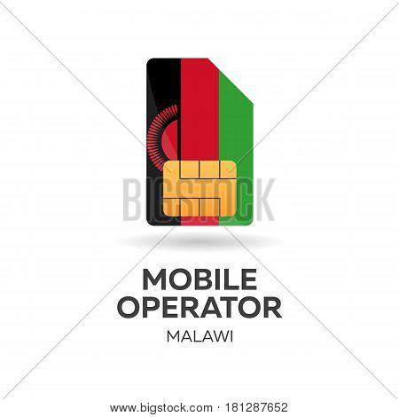 Malawi Mobile Operator. Sim Card With Flag. Vector Illustration.