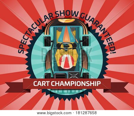 Cart championship or auto pilots competition vector illustration. Outdoor auto speed racing, extreme karting sport, automobile motor show, road trophy race. Driver racing on go kart in helmet.