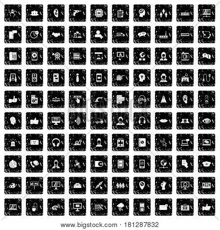 100 call center icons set in grunge style isolated vector illustration