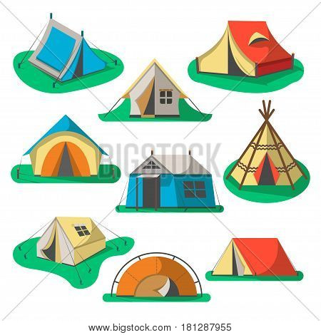 Tourist tent icon set isolated on white background vector illustration. Camping equipment, outdoor adventure gear in flat design. Hiking traveling, camp tent for nature vacation collection element