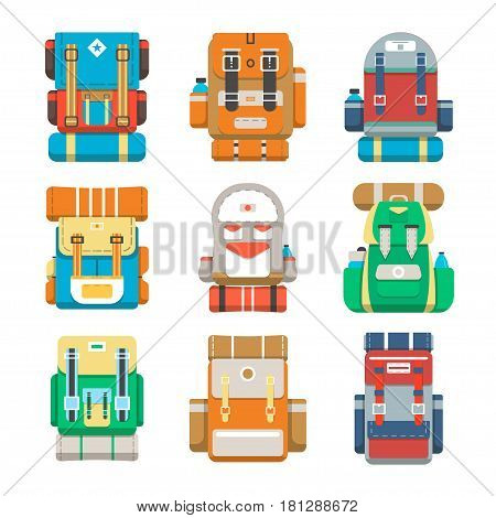 Camping and travel backpack icon set vector illustration isolated on white background. Tourist back pack, camp knapsack, hike bag. Mountain hiking equipment, outdoor adventure gear in flat design.