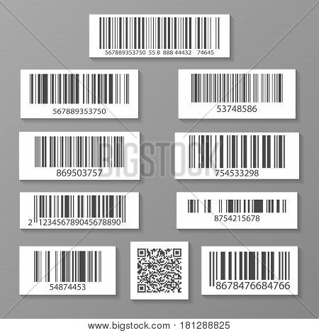 Realistic barcode icon set isolated vector illustration. Market mark symbol, retail product sticker template, market packaging sign, commerce identification symbol, QR code.