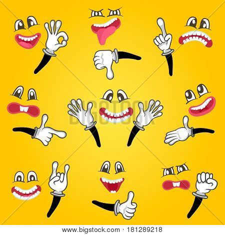 Cartoon cute emoticon set isolated vector illustration. Happy, anger, joy, fear, surprise smiley, fun comic faces with different facial expressions. Emoji characters with eyes, mouth and hand gestures