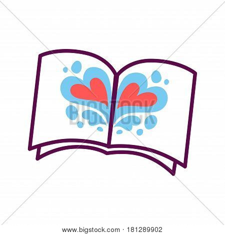 Psychology abstract symbol of love hearts in open book or notepad. Conceptual vector flat icon of human psychological state of mind and mental thinking