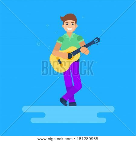 The man is playing the guitar. Vector illustration of cartoon character. Modern flat style.  The guy is standing full-length.