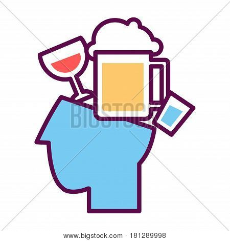 Psychology abstract symbol of human head with alcohol drinks and beer. Conceptual vector flat icon of human psychological state of mind and mental thinking