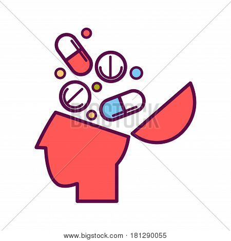 Psychology abstract symbol of human head with medicines and ilness pills. Conceptual vector flat icon of human psychological state of mind and mental thinking