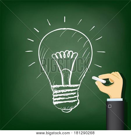 Human hand drawing a chalk a light bulb. Stock vector illustration.