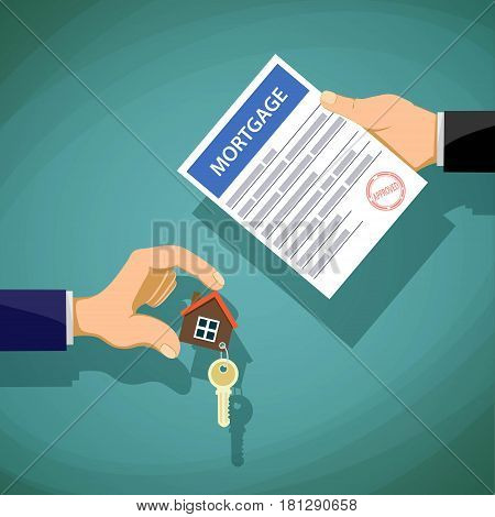 Deal with the real estate. Two people hold the key and the document on the mortgage. Stock vector illustration.