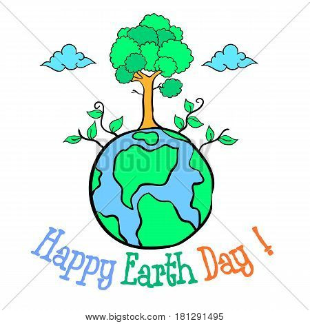 Happy Eart Day with world and tree vector art