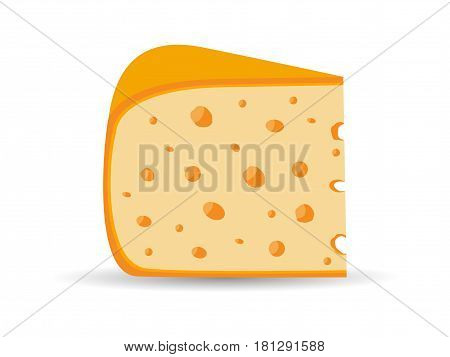Triangle Cheese With Holes Isolated On White Background. Vector Illustration