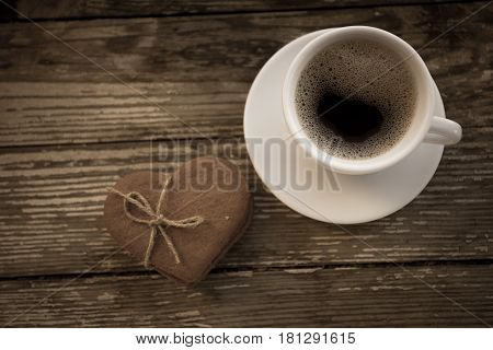 Cup Of Coffee With Biscuit Cookies