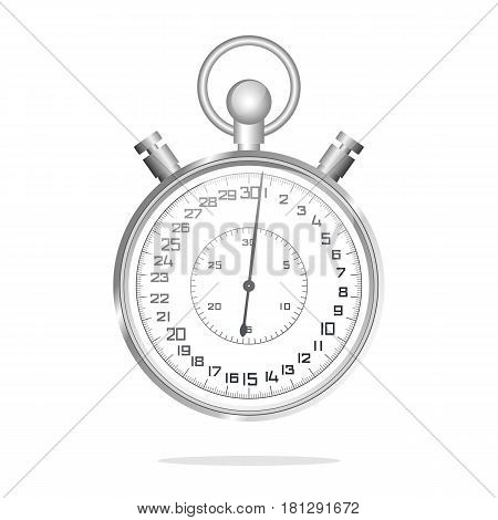 Stopwatch on white background. Realistic metallic stopwatch close-up front view of stopwatch. Vector illustration.