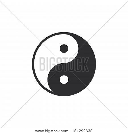 Yin and yang icon vector filled flat sign solid pictogram isolated on white. Taoism symbol logo illustration. Pixel perfect