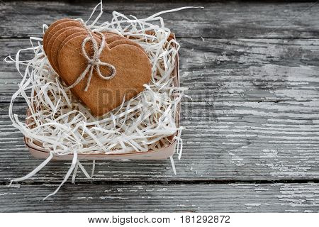 Coffee Break, Breakfast. Ginger Cookies Tied With A Rope Of Flax.