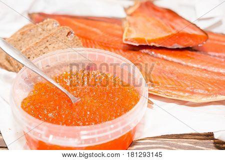 Red Fish With Caviar. A Salmon Smoked With Caviar.