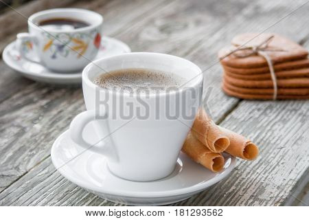 Coffee Break, Breakfast. Cup Of Coffee With Biscuit Cooki