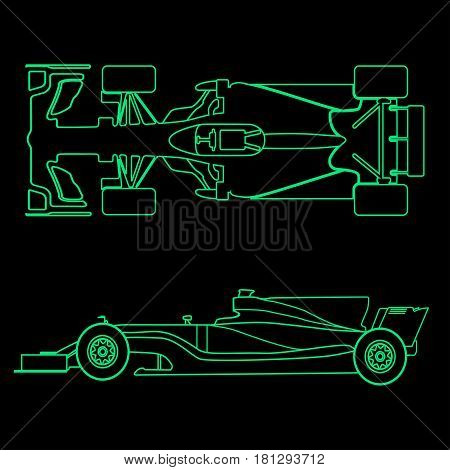 Formula car, linear light silhouette of a racing car isolated on black background. Top view and side view. Vector illustration.