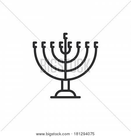 Hanukkah menorah line icon outline vector sign linear style pictogram isolated on white. Symbol logo illustration. Editable stroke. Pixel perfect