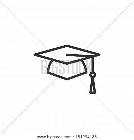 Square academic cap graduation hat line icon outline vector sign linear style pictogram isolated on white. Symbol logo illustration. Editable stroke. Pixel perfect