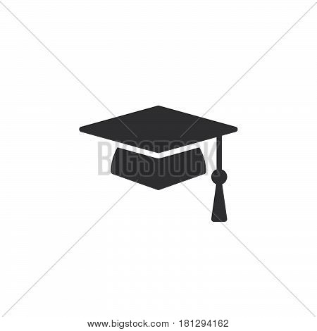 Square academic cap graduation hat icon vector filled flat sign solid pictogram isolated on white. Symbol logo illustration. Pixel perfect