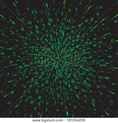 Binary code green and dark background digits on screen. Algorithm binary, data code, decryption and encoding, row matrix, vector illustration.
