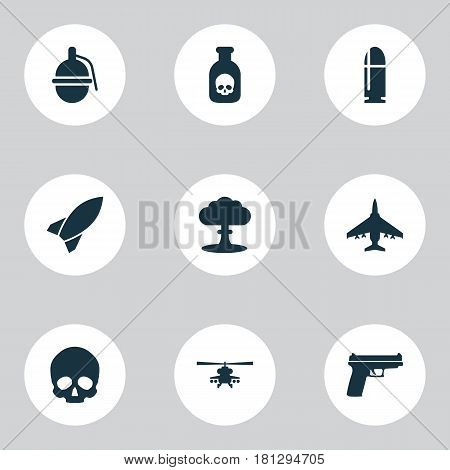 Combat Icons Set. Collection Of Atom, Weapons, Cranium And Other Elements. Also Includes Symbols Such As Bombshell, Helicopter, Bomber.