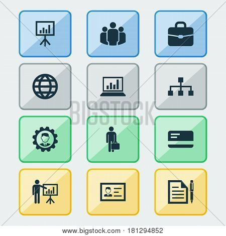 Job Icons Set. Collection Of Group, Suitcase, Diagram And Other Elements. Also Includes Symbols Such As Gear, Page, Chart.