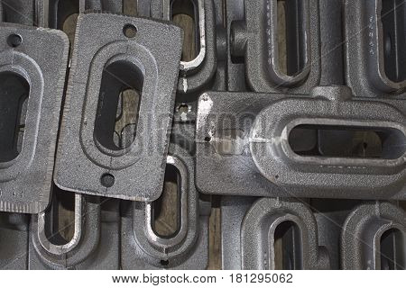iron casting parts for construction lay in stock area
