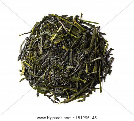 Heap of japanese green shincha tea. First flush shadow tea highest quality. Isolated on white background.