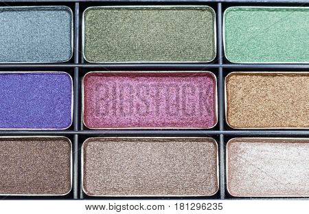 Close-up eyeshadow makeup The eyeshadow have colorful palette of eyeshadow