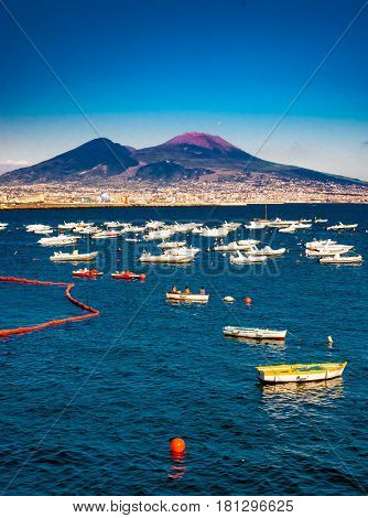 Panorama of Naples, view of the port in the Gulf of Naples, and Mount Vesuvius. Naples, Italy.