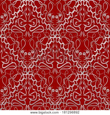 Seamless red tile with an light old-style brocade pattern