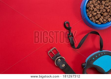 Collar, blue bowl with feed, leash and delicacy for dogs. Isolated on red background. Top view. Still life. Copy space