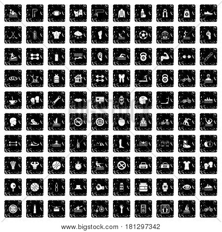 100 men health icons set in grunge style isolated vector illustration
