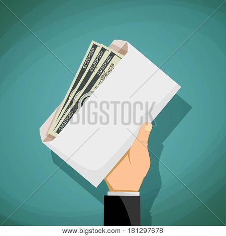 Man holds in his hand an envelope with money. Bribery and corruption. Stock vector illustration.