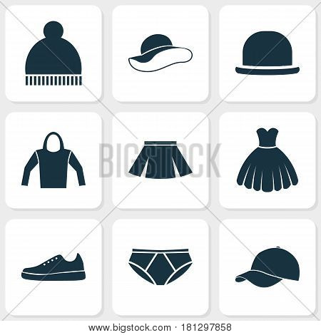 Clothes Icons Set. Collection Of Elegant Headgear, Briefs, Sweatshirt And Other Elements. Also Includes Symbols Such As Shoes, Skirt, Hoodie.