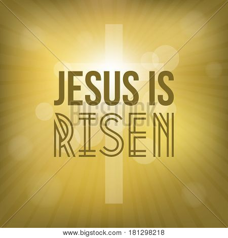 jesus is risen text with cross background