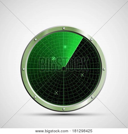 Icon green military radar on the screen. Stock vector illustration.