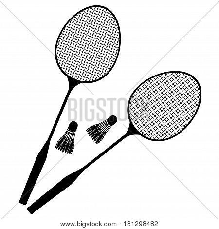 Let's Play Badminton. Silhouettes Of Badminton Rackets And Shuttlecocks On A White Background