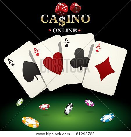 Casino banner for website design. Vector illustration dice casino chips poker playing cards