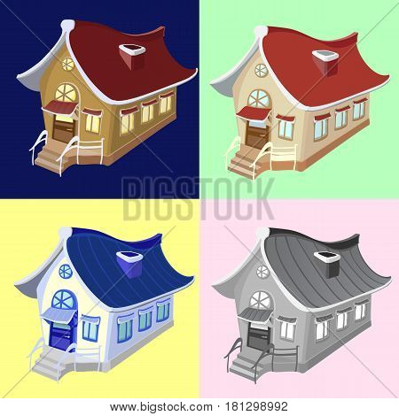 Vector set of color solutions for a small private house for different environments and different times of day
