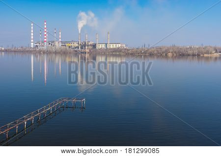 Spring landscape with electric power station beside Dnepr river in Dnepr city Ukraine