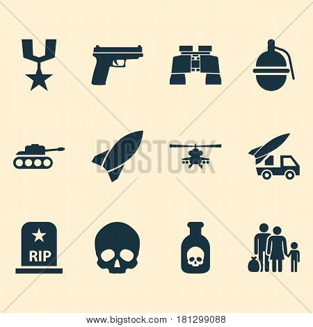 Warfare Icons Set. Collection Of Rip, Chopper, Danger And Other Elements. Also Includes Symbols Such As Rocket, Bombshell, Artillery.